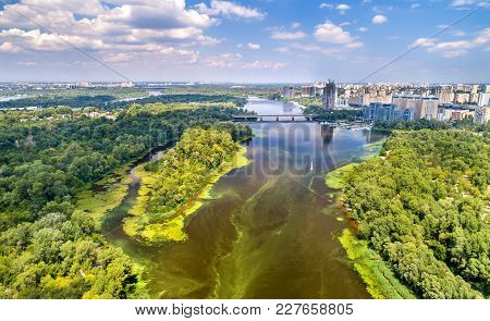Aerial View Of The Dnieper River In Kyiv, The Capital Of Ukraine