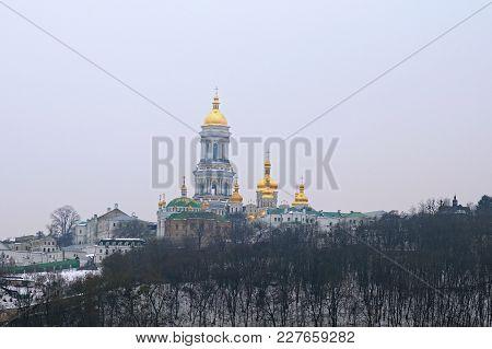 Kyievo-pechers'ka Lavra And Belltower On Blue Sky Background. It Is A Historic Orthodox Christian Mo