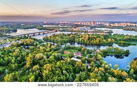 Aerial Panorama Of Trukhaniv Island On The Dnieper River In Kiev, Ukraine