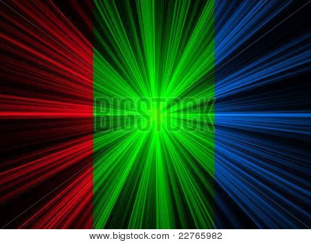 Abstract Red Green Blue Fractal Explosion