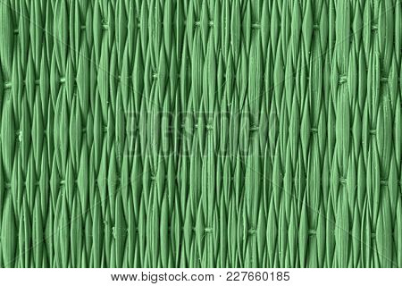 Green Traditional Thai Style Nature Background Of Brown Handicraft Weave Texture Wicker Surface For
