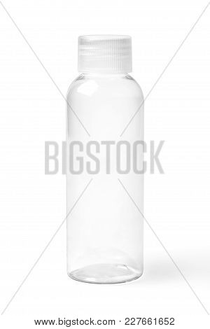 Closed Empty Colorless Transparent Plastic Bottle For Cosmetic Products.