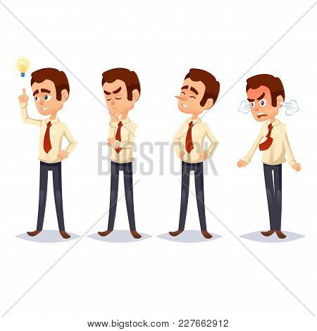 Cartoon Colorful Vector Illustration Of A Handsome Young Businessman In Various Poses Business Man C