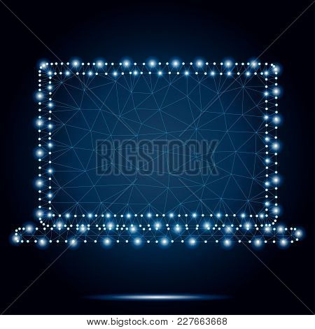 Polygonal Illustration Of Laptop Consisting Of Polygons, Dots And Lines. Low Poly Polygon Design, Is