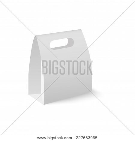 Blank Of Box Package For Product With Take Away Handle. Vector.