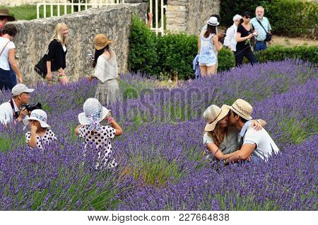 Provence, France - July 7, 2014: Tourists In Romantic Lavender Field Of An Ancient Monastery Abbaye