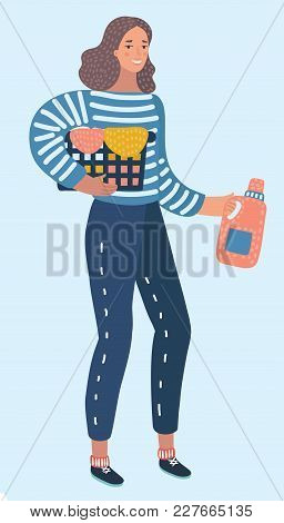 Vector Cartoon Illustration Of Happy Young Woman Holding Clothes Laundry Chores Basket. Female Chara