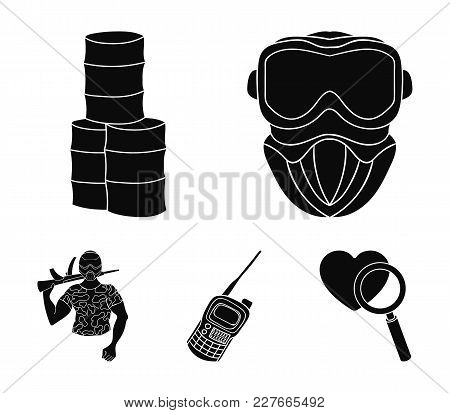 Equipment, Mask, Barrel, Barricade .paintball Set Collection Icons In Black Style Vector Symbol Stoc