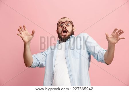 Portrait Of The Scared Man On Pink