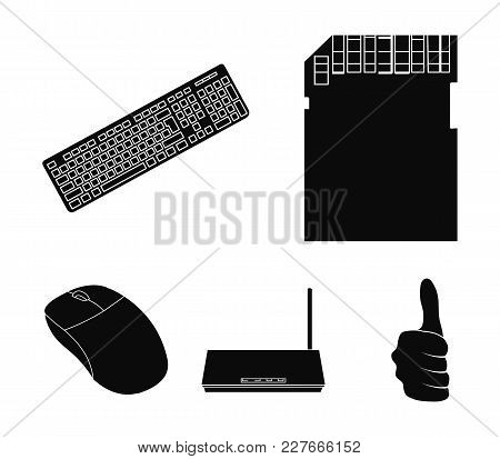 Router, Computer Mouse And Other Accessories. Personal Computer Set Collection Icons In Black Style