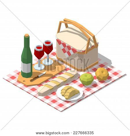 Isometric Low Poly Picnic Food Set. Vector Illustration On White Background