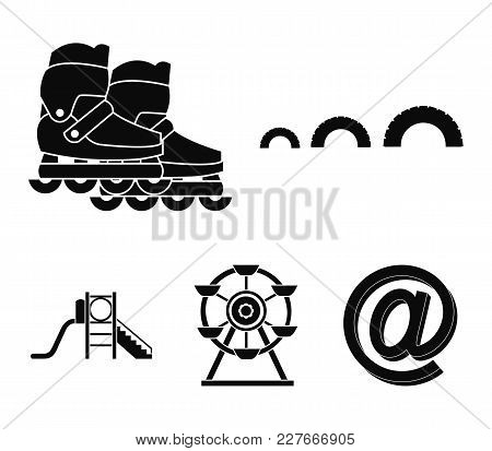Ferris Wheel With Ladder, Scooter. Playground Set Collection Icons In Black Style Vector Symbol Stoc