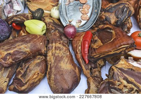 Dried Meat And Various Products On Offer