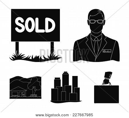 Employee Of The Agency, Sold, Metropolis, Country House. Realtor Set Collection Icons In Black Style