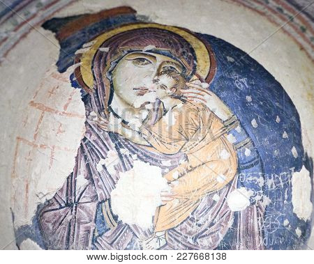 Goreme, Turkey - May 16, 2016: The Eleusa - Ancient Mural Painting In Tokali Kilise (church Of The B