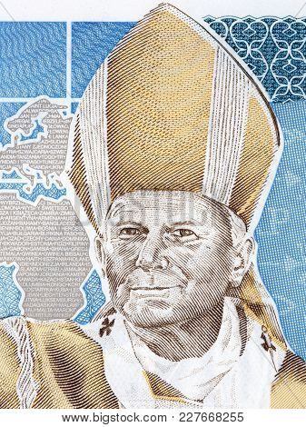Pope John Paul Ii Portrait From Polish Money