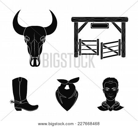 Gates, A Bull's Skull, A Scarf Around His Neck, Boots With Spurs. Rodeo Set Collection Icons In Blac