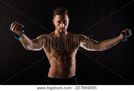 T-shirt Free Caucasian Brown Boy Fitness And Posing In A Photographic Studio