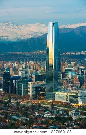 Santiago, Region Metropolitana, Chile - June 01, 2013: Panoramic View Of Providencia And Las Condes