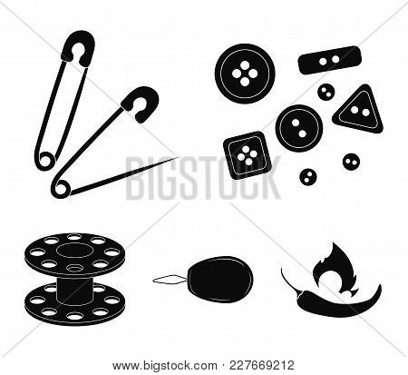 Buttons, Pins, Coil And Thread.sewing Or Tailoring Tools Set Collection Icons In Black Style Vector