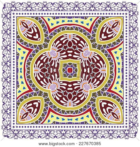 Decorative Colorful Ornament On A White Background, Symmetric Pattern With Doodle Lace Frame. Tribal
