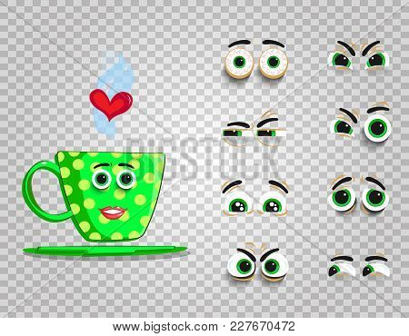 Cute Emoji Set Of Green Cup With Changeable Eyes Collection.