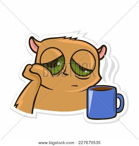 Sticker For Messenger With Funny Animal. Hamster With A Cup Of Tea Or Coffee. Vector Illustration, I
