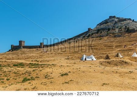 The Ruins Of The Ancient Turkish Fortress In Crimea, Sudak. The Ruins Of The Ancient City. The Fortr