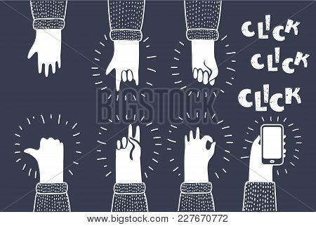 Vector Cartoon Illustration Of Hands Vector, Fist, Devil Horns, Okay Gesture, Victory Sign, Ok, Rock