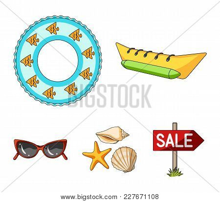 Water Attraction, Seashells, Goggles.summer Vacation Set Collection Icons In Cartoon Style Vector Sy