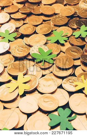 Golden Coins And Shamrock, St Patricks Day Concept