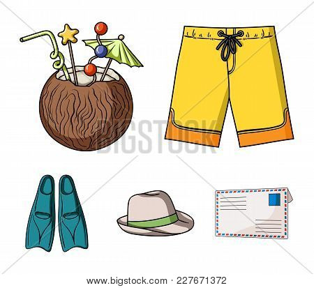 Swimming Trunks, Cocktail With Coconut, Panama And Flippers. Surfing Set Collection Icons In Cartoon
