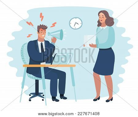Vector Cartoon Illustration Of Angry Boss And Frightened Employee. Man Sitting At The Table, Woman B