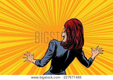 Frightened Woman Back, Human Reaction. Pop Art Retro Vector Illustration Comic Cartoon Figure Vintag