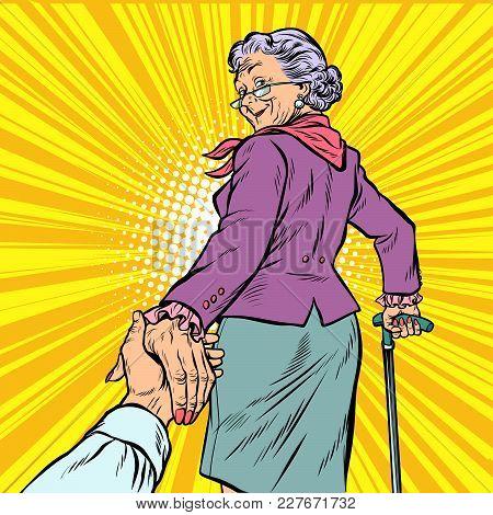 Follow Me Mature Woman Granny Leads Hand. Pop Art Retro Vector Illustration Comic Cartoon Figure Vin