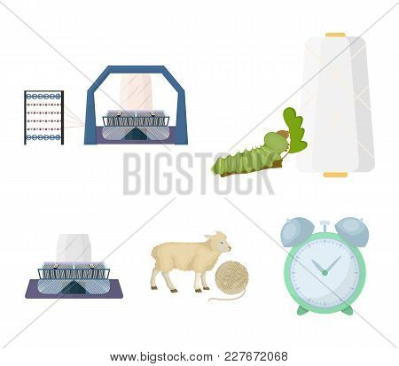 Cotton, Coil, Thread, Pest, And Other  Icon In Cartoon Style. Textiles, Industry, Gear Icons In Set