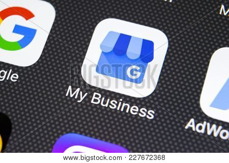 Sankt-petersburg, Russia, February 20, 2018: Google My Business Application Icon On Apple Iphone X S