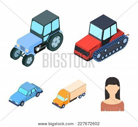 Tractor, Caterpillar Tractor, Truck, Car. Transport Set Collection Icons In Cartoon Style Vector Sym