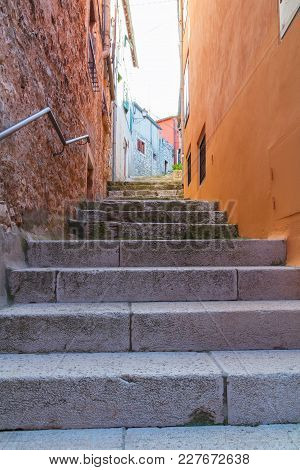 Calm, Peaceful Little Tight Narrow Streets And Colorful Houses Of Rovinj Town