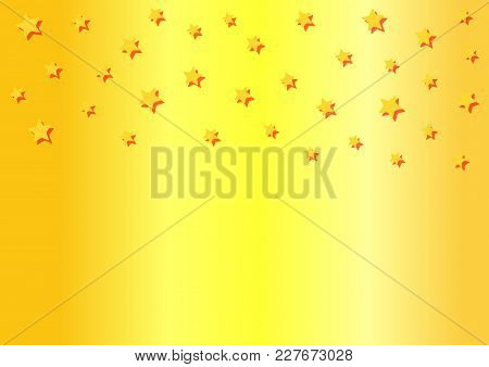 Rectangular Horizontal Golden Background With Falling Stars. Modern Vector Illustration.