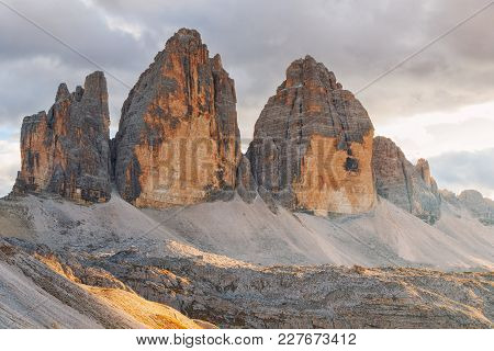 Tre Cime Di Lavaredo In Beautiful Surroundings At Autumn In The Dolomites  (drei Zinnen)