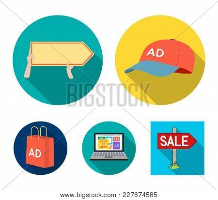 Baseball Cap, Pointer In Hands, Laptop, Shopping Bag.advertising, Set Collection Icons In Flat Style