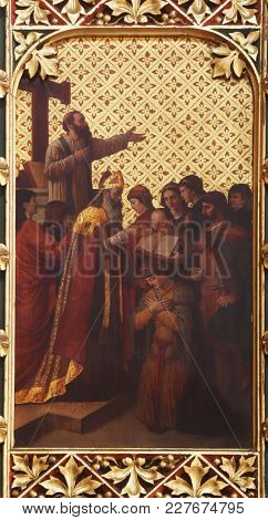 ZAGREB, CROATIA - APRIL 07: Consecration of the first bishop of Zagreb, altarpiece in Zagreb cathedral dedicated to the Assumption of Mary in Zagreb on April 07, 2015