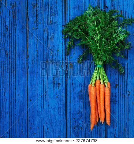 A Bunch Of Carrots. Fresh Raw Carrots With Stems. Garden Carrots On Colorful Blue Wooden Background