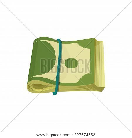 Bundle Of American Banknotes. Dollar Bills Folded In Two And Stretched By Blue Elastic Band. Paper M