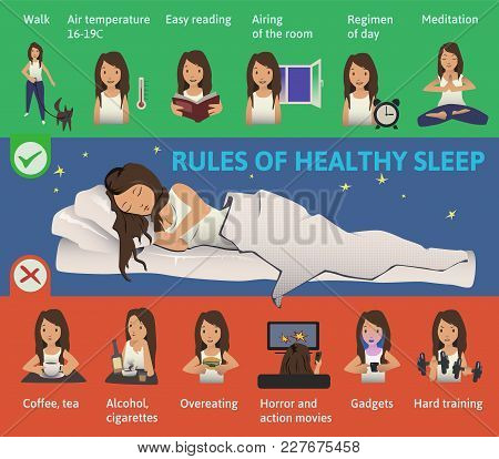 Rules Of Healthy Sleep. Vector Infographics Illustration. Cute Girl Sleeping On The Bed. Useful Tips