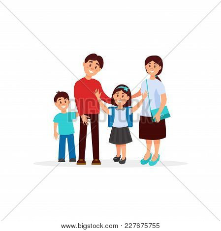 Colorful Portrait Of Happy Family With Mother, Father, Son And Daughter. Girl With School Backpack O