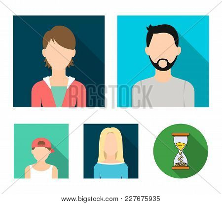 Man With A Beard And Mustache, Blond, Boy In A Cap, Girl Teenager.avatar Set Collection Icons In Fla