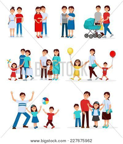 Collection Of Young Families. Young Couples. Cartoon People Characters Expecting Baby Born. Pregnant