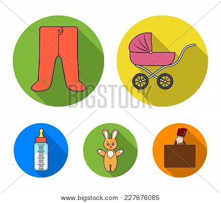 Stroller, Bottle With A Pacifier, Toy, Sliders.baby Born Set Collection Icons In Flat Style Vector S